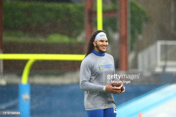 Skyler Cavanaugh of the South Dakota State Jackrabbits warms up before the game against the Sam Houston State Bearkats during the Division I FCS...