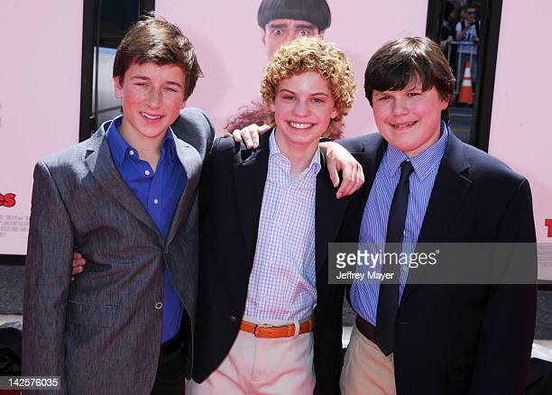 Skyler Gisondo Lance ChantilesWertz and Robert Capron attend the Los Angeles premiere of The Three Stooges on April 7 2012 in Hollywood United States