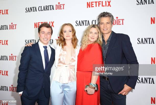 Skyler Gisondo Liv Hewson Drew Barrymore and Timothy Olyphant attend the Santa Clarita Diet season 2 world premiere on March 22 2018 in Hollywood...