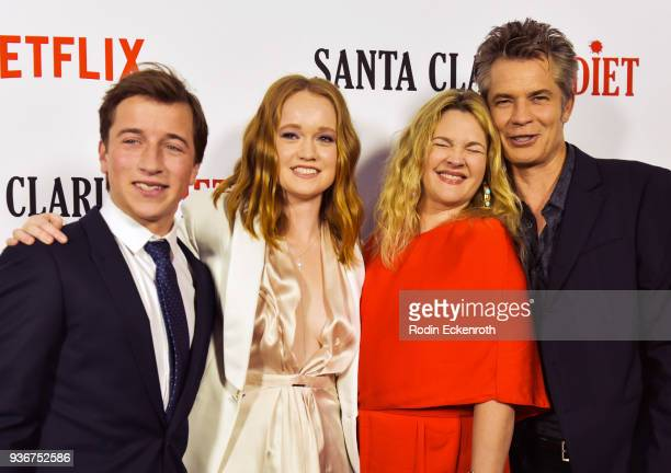 Skyler Gisondo Liv Hewson Drew Barrymore and Timothy Olyphant attend Netflix's Santa Clarita Diet season 2 premiere at The Dome at Arclight Hollywood...