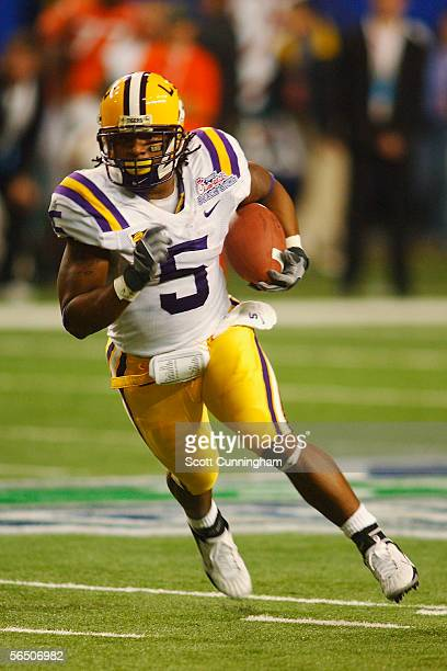 Skyler Green of the LSU Tigers runs against the Miami Hurricanes in the ChickFilA Peach Bowl on December 30 2005 at the Georgia Dome in Atlanta...