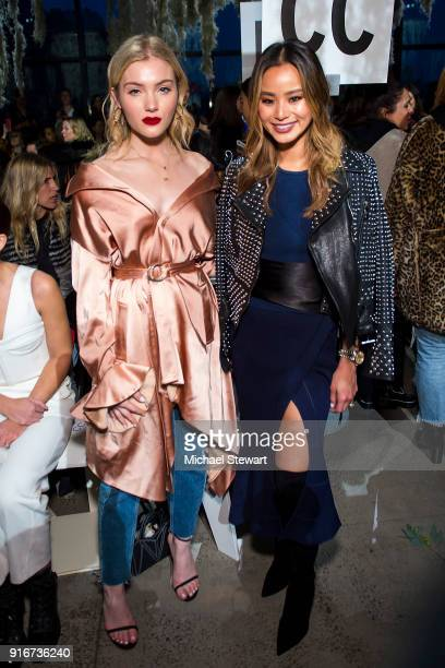 Skyler Samuels and Jamie Chung attend the Jonathan Simkhai fashion show during New York Fashion Week at Gallery I at Spring Studios on February 10...
