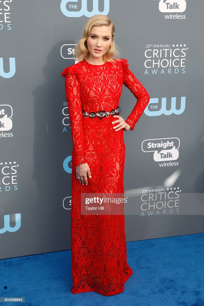 Skyler Samuels attends the 23rd Annual Critics' Choice Awards at Barker Hangar on January 11, 2018 in Santa Monica, California.
