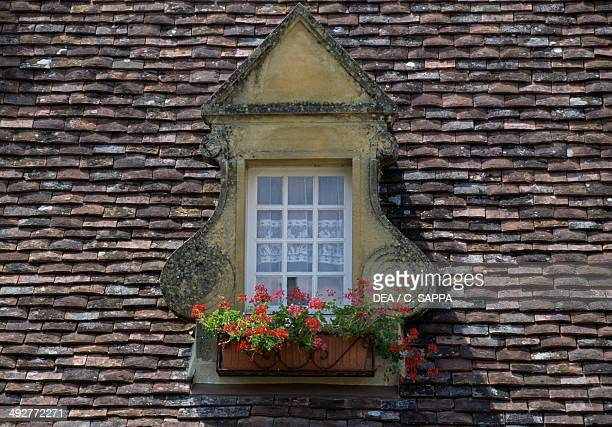 Skylight on the roof of a house in Domme Aquitaine France