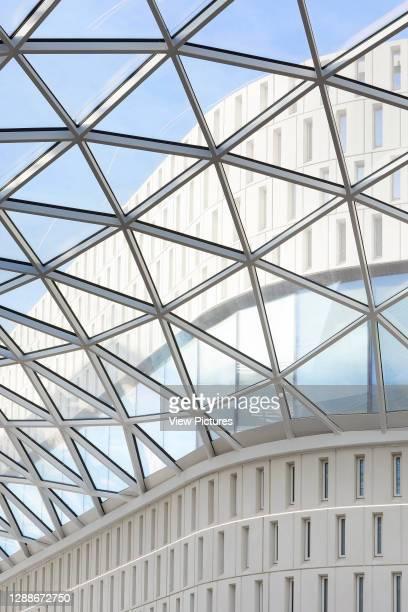 Skylight structure with triangular glass panes. Westfield White City, London, United Kingdom. Architect: UNStudio, 2018.