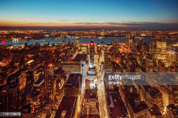 skyline aerial view at dusk  in usa - philadelphia skyline stock pictures, royalty-free photos & images