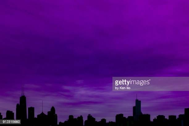 Skyline against a purple sky