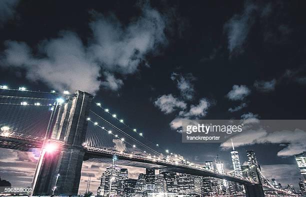 NYC skyline and brooklyn bridge