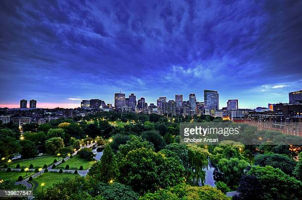 Skyline and Public Garden at sunrise
