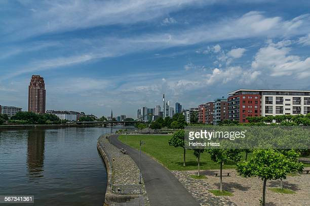 Skyline and river Main in Frankfurt