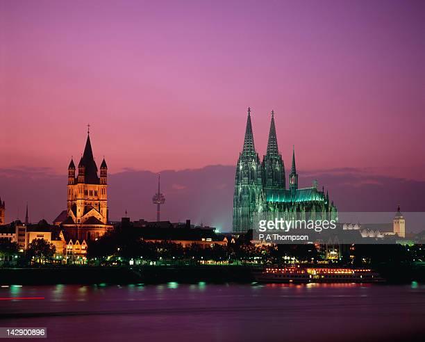 Skyline and River Rhine, Cologne, North Rhine, Westfalia, Germany
