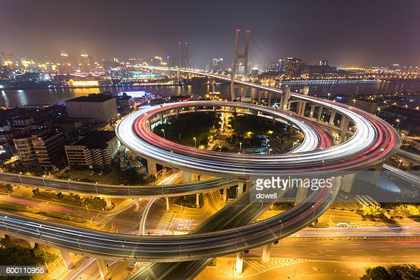 Skyline and road intersection of Shanghai at night