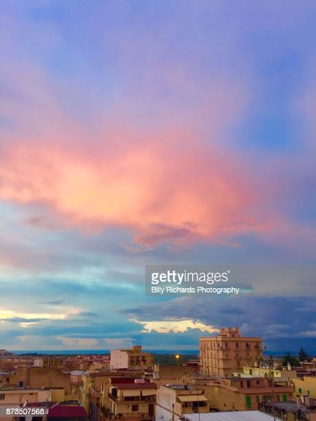 Skyline and roof tops of Corato, Puglia, Italy at sunset