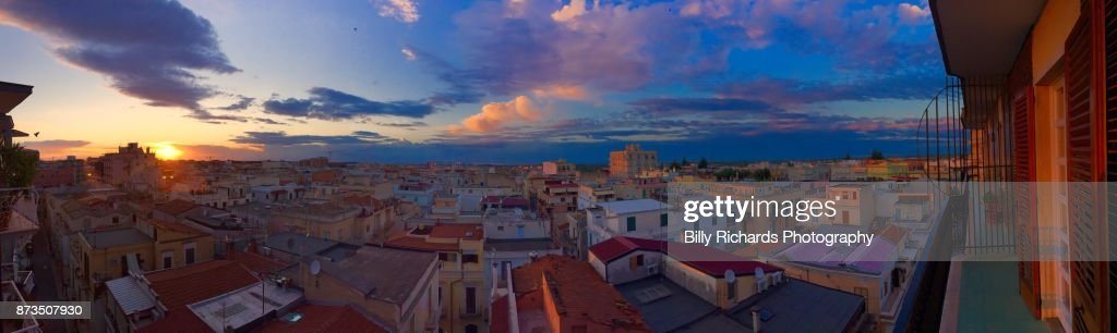 Skyline and roof tops of Corato, Puglia, Italy at sunset : Stock Photo