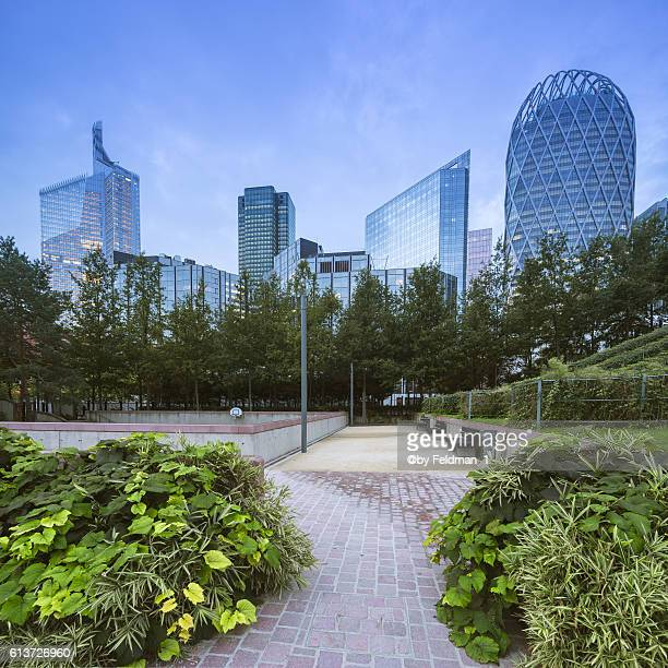 Skyline and scene of La Defense in Paris at dawn in the morning