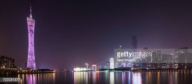 Skyline and waterfront of Guangzhou city with Canton Tower at night,  Guangdong, China