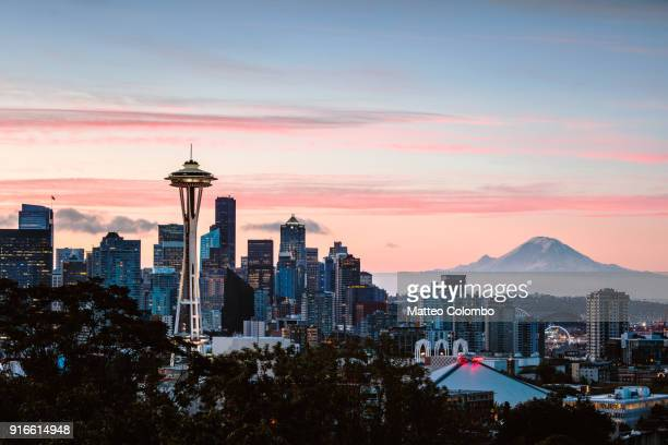 Skyline at dawn with Space Needle and Mt Rainier, Seattle, USA