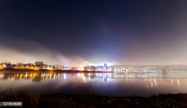 skyline at night (ludwigshafen am rhein) - roman pretot stock-fotos und bilder