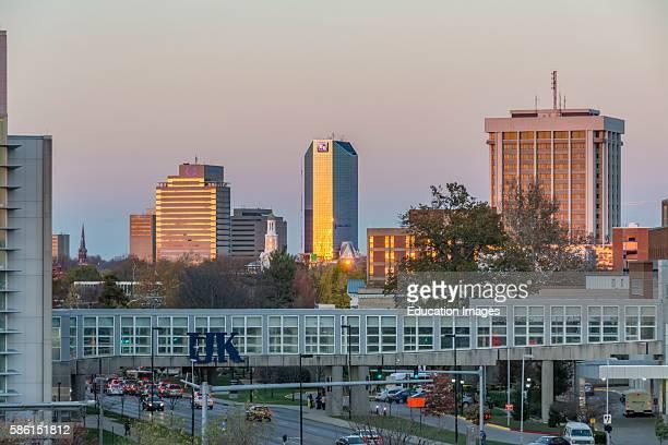 Skyline at sunset of Lexington Kentucky viewed from the University of Kentucky Hospital area