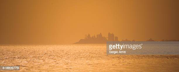 Skyline at sunset over the sea