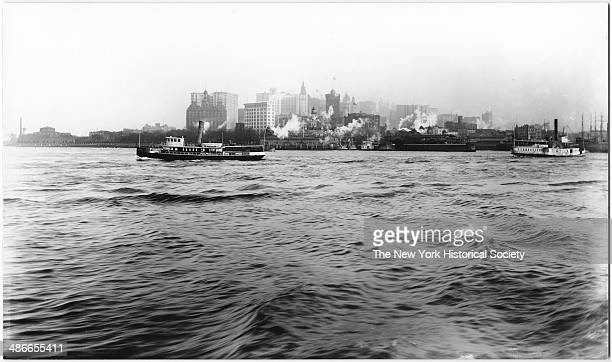 Skyline at the tip of Lower Manhattan viewed from the harbor New York New York 1895 South Ferry at center frame
