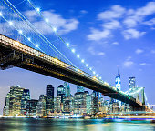 NYC skyline: Brooklyn Bridge and Manhattan