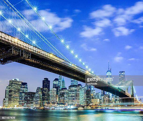 NYC skyline: Brooklyn Bridge and Manhattan