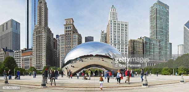 skyline - chicago - cloud gate stock photos and pictures
