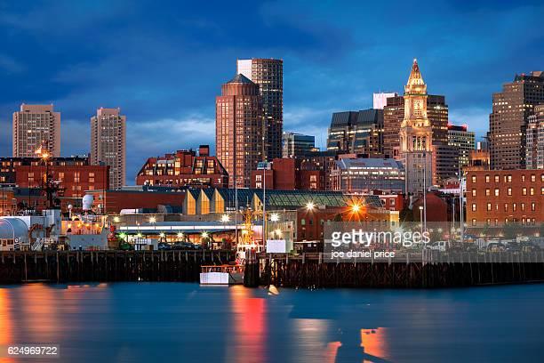 skyline, custom house, boston, massachusetts, america - massachusetts stock pictures, royalty-free photos & images