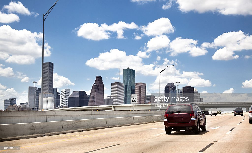 Skyline, downtown city. Houston Texas USA. Highway, interstate road. Traffic. : Stock Photo