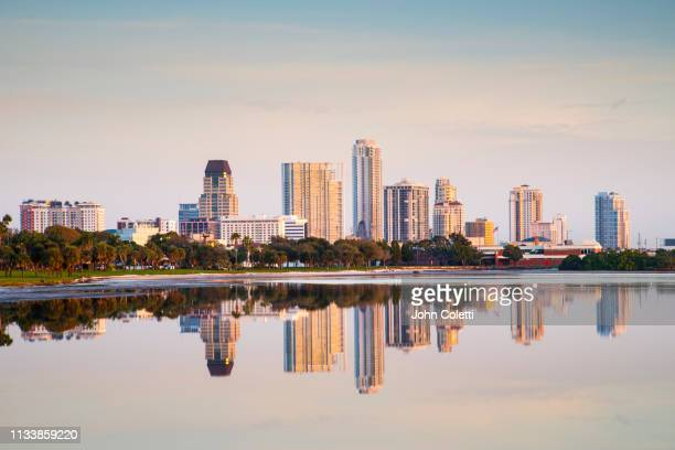 skyline, downtown, tampa bay, saint petersburg, florida - st. petersburg florida stock pictures, royalty-free photos & images