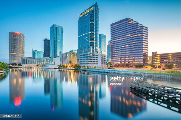 skyline downtown tampa florida usa hillsborough river - tampa stock pictures, royalty-free photos & images