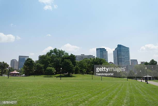 skyline from boston common park - boston common stock pictures, royalty-free photos & images