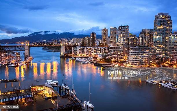 skyline from granville bridge, burrard bridge, vancouver, british columbia, canada - カナダ バンクーバー ストックフォトと画像