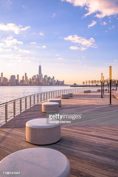 nyc skyline from hoboken - hoboken stock pictures, royalty-free photos & images
