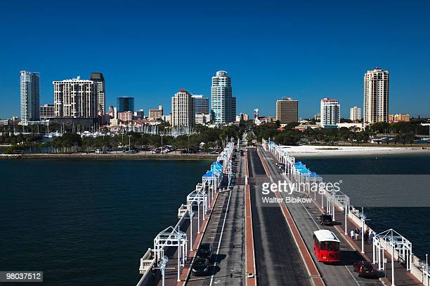 skyline from the pier - st. petersburg florida stock pictures, royalty-free photos & images