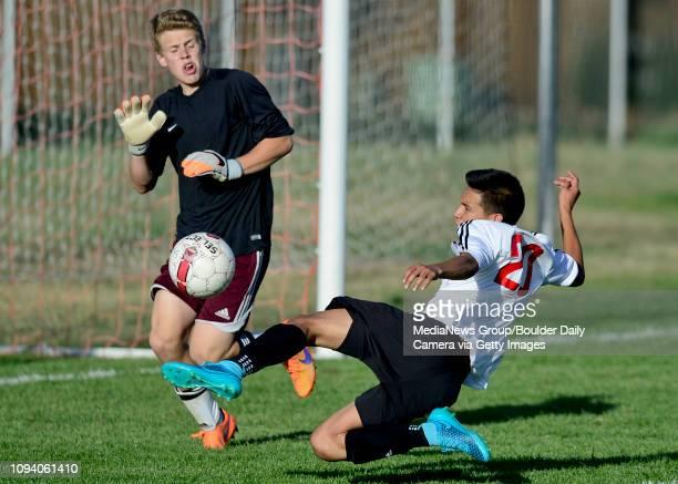 Skyline High School's Marco Rodriguez tries to get a shot past Silver Creek High School's goal keeper Brandon Coder on Thursday Go to timescallcom...