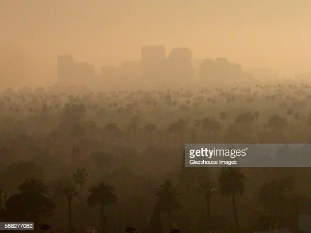 Skyline in Smog, Los Angeles, California, USA
