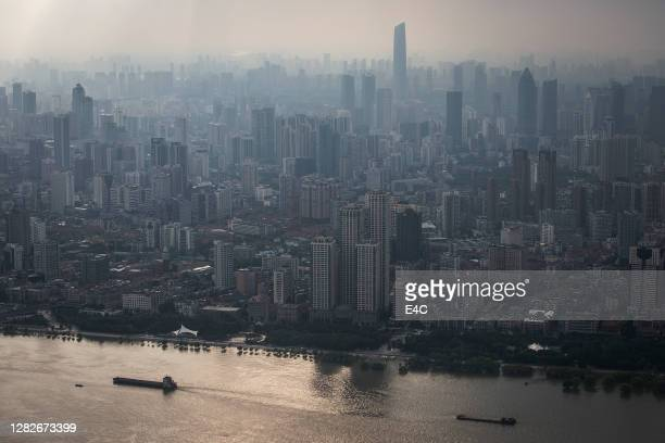 skyline in wuhan, hubei, china - hubei province stock pictures, royalty-free photos & images