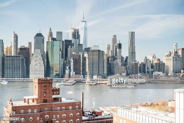 Skyline New York City Manhattan and Historic Buildings of Brooklyn Heights