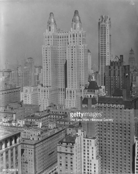 Skyline northwest view showing Waldorf Astoria and RCA Building New York New York 1929