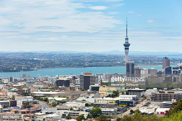 Skyline of Auckland with Skytower and Takapuna at the rear, Mount Eden, Auckland, Auckland Region, New Zealand
