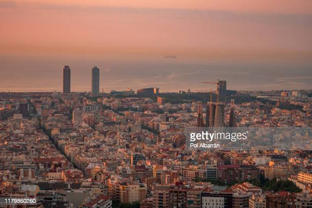 skyline of barcelona during sunrise. catalonia, spain - montjuic stock pictures, royalty-free photos & images