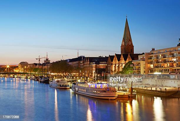 skyline of bremen and river weser - bremen stock pictures, royalty-free photos & images