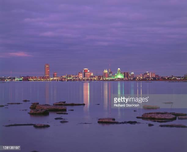 Skyline of Buffalo, NY at night