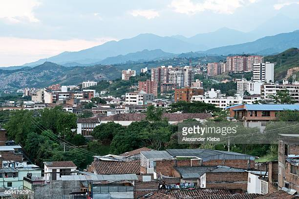 skyline of cali and farallones - cali colombia stock pictures, royalty-free photos & images
