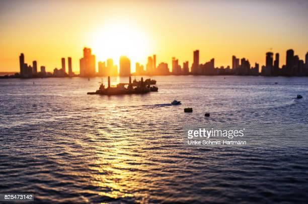 Skyline of Cartagena at sunset