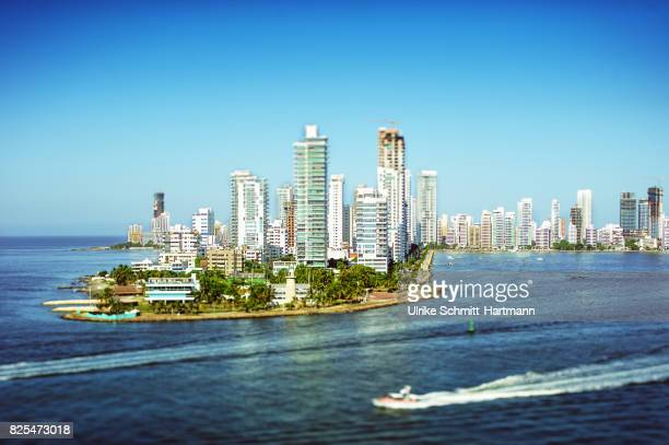 skyline of cartagena - cartagena colombia foto e immagini stock