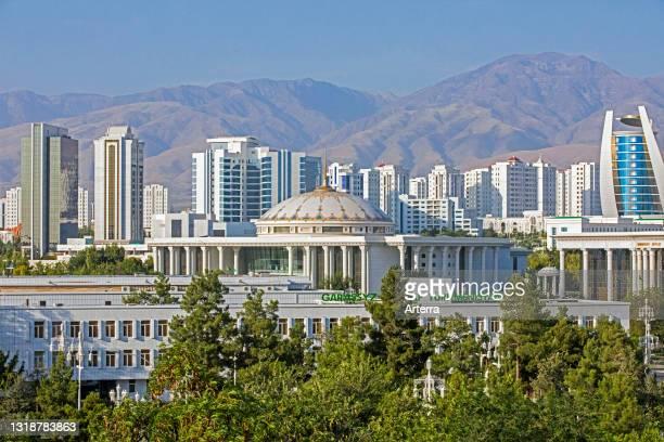 Skyline of city Ashgabat, marble capital of the world, Turkmenistan.