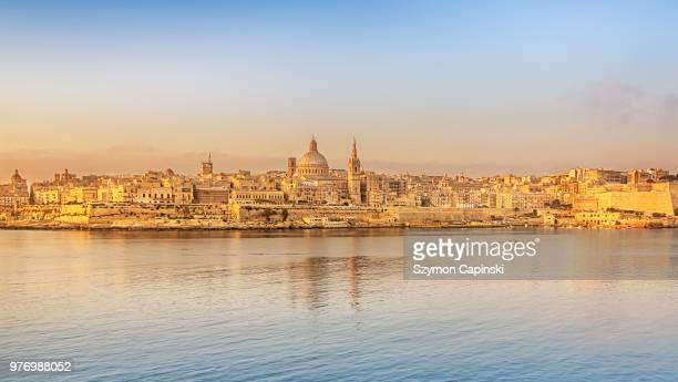 skyline of city, valletta, malta - valletta stock pictures, royalty-free photos & images